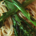 Spaghetti Aglio Oglio Pepperoncino with pan roasted broccolini